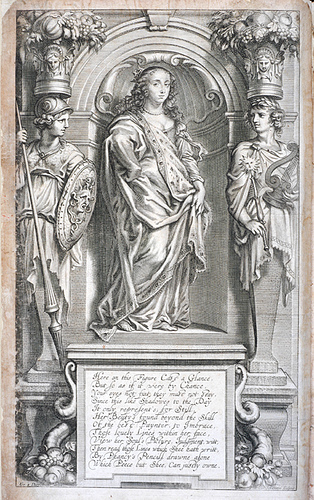 Margaret Cavendish standing on a pedestal with Athena standing to her left and Apollo standing to her right.