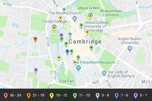 Map of Cavendish library locations (showing Cambridge).